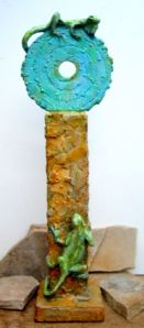 (11)Bronze Sculpture Turquoise Circle & lizards