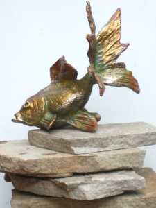(14) Bronze sculptured Goldfish in ETSY