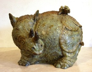 (18) Bronse Whimsey Rhino, birds in ETSY
