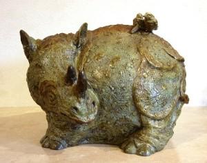 (18) Bronse Whimsey Rhino, birds in ETSY