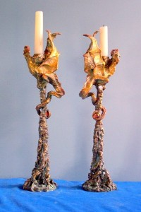 (19) Bronze Sculpture Dragon, Jewel Candlesticks in ETSY