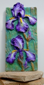 (20) Bronze Relief Purple Iris in ETSY