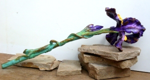 (21) Bronze Iris With lizard on Stem in ETSY