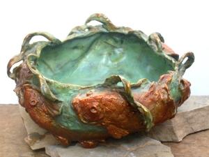 (22) Bronze Koi Fish Vessel in ETSY