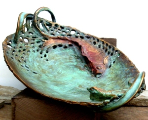 (23) Bronze Carved Koi Fish & Lizard Serving Dish in ETSY