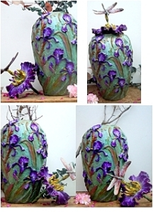 (24) Bronze Columbine, Iris Vase Dragonfly-flower Lid in Etsy