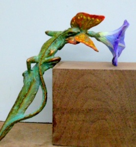 (25) Bronze Lizard, Butterfly & Morning Glory Ornament in ETSY