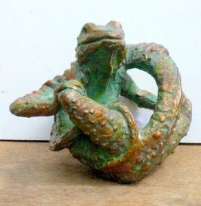 (27) Bronze Sculpture Rolling Desert Lizard in ETSY
