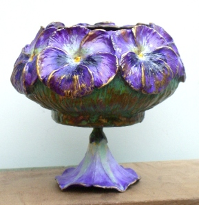 (29) Bronze l Purple Pansy bowl on Morning glory In ETSY