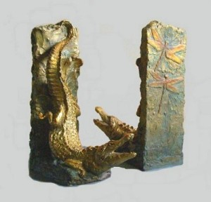 (3) Bronze Alligators & dragonflys Book Ends in ETSY