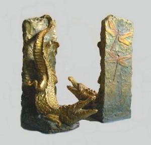 (3) Bronze Alligators & dragonflys Book Ends in ETSY