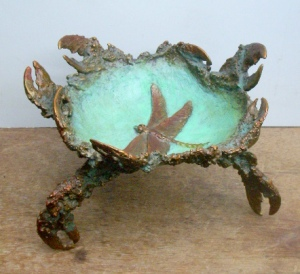 (31) Sculptured Bronze Lobster-Crab Dragonfly Vessel in Etsy