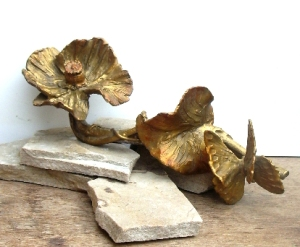 (32) Bronze Poppy Flower,Butterfly Desk Ornament in Etsy