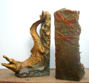 (37) Bronze Crocodilian-Alligator Book End Sculptures in ETSY