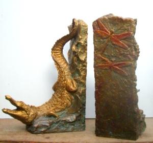 (37) Bronze Crocodilian-Alligator Book End Sculptures in ETSY