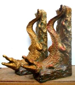 (38) Bronze Crocodilian-Alligator Book End Sculptures in ETSY