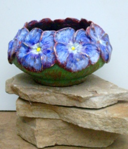 (4) Blue Pansy Bronze Bowl in Etsy