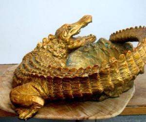 (40) Bronze Crocodilian-Alligator Bowl in ETSY