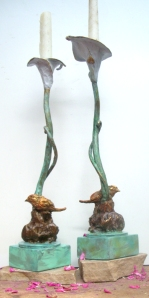 (44) Bronze Calla Lily, Bird Candlestick in ETSY