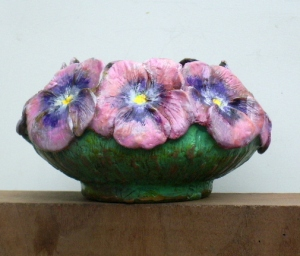 (46) Bronze Bowl of Pink Pansies in Etsy Art