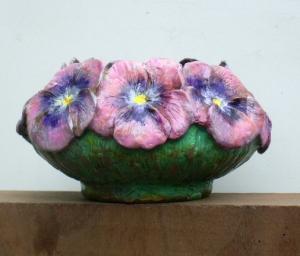(46) Bronze Bowl of Pink Pansies in Etsy Art