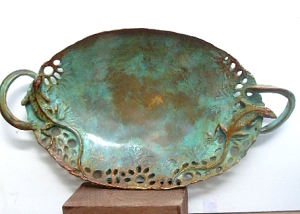 (54) Bronze Sculptured Chameleons Serving Dish i Etsy Art