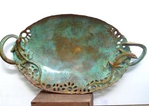 (54) Bronze Sculptured Chameleons Serving Dish i Etsy Art
