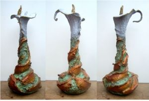 (56) Bronze Swirling Koi Fish, Calla Lily Vase in Etsy Art