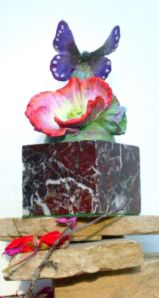 (57) Bronze Orange Cacti Flwer, Butterfly, marble Base i Etsy