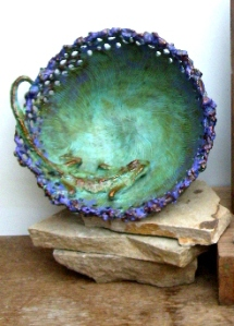 (6) Lavender Lace Lizard Bronze Vessel in ETSY