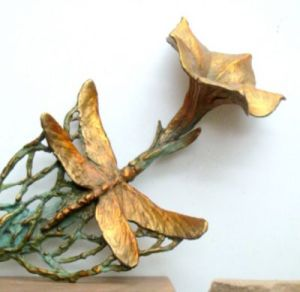 (60) Bronze Moon Flower & Dragonfly Desk Ornament in Etsy