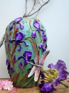 (63)  Bronze Columbine, Iris Vase Dragonfly-flower Lid in Etsy