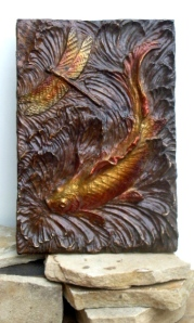 (9) Bronze chocolate Rlief of Koi Fish & Dragon fly in Etsy