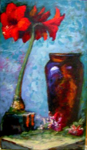 Acrylic oil painting images art works by sharles for Amaryllis graine