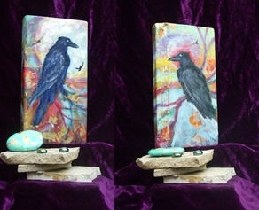 c-8 (1)crows & sunset sky painting front & back