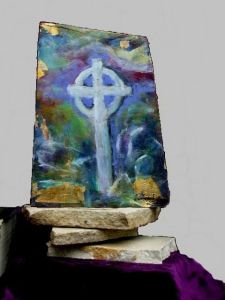 crow & large celtic cross painting front & back (1)