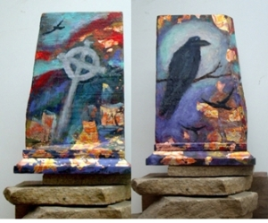 crows & celtic cross painting front & back